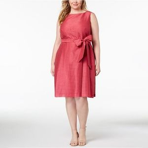 Anne Klein Shadow-Stripe Fit Flare Dress